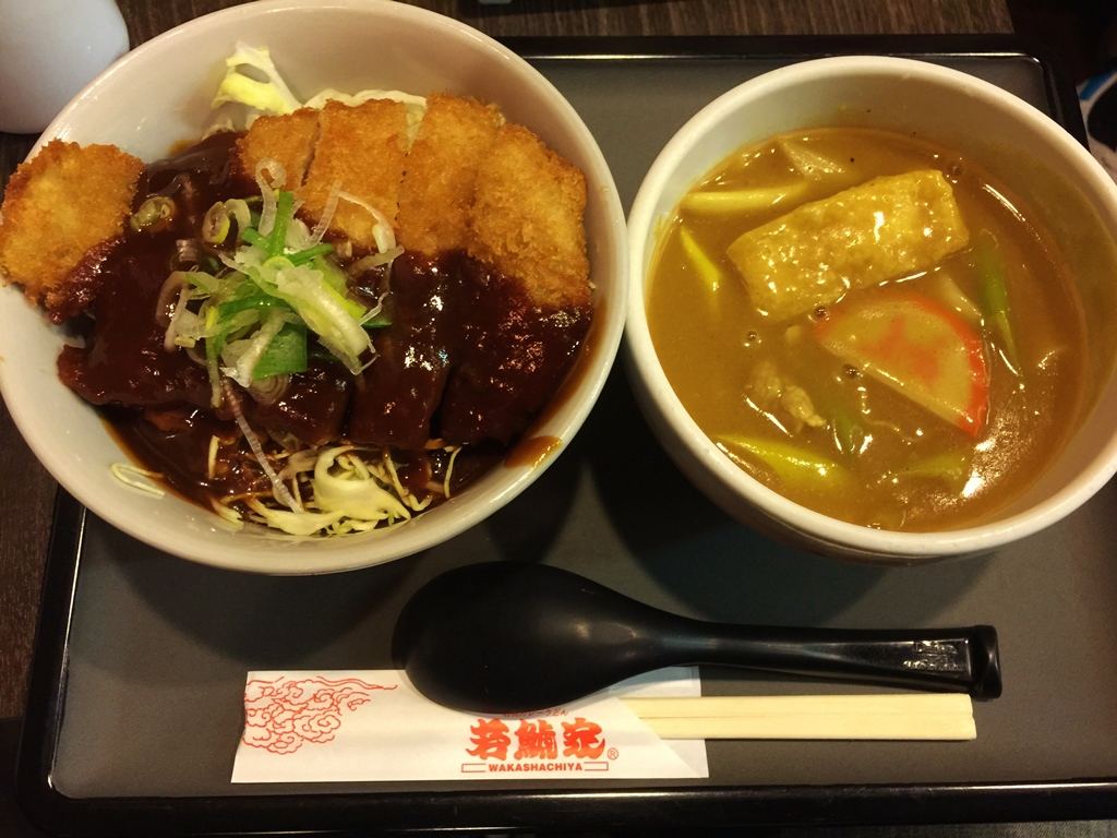 Nagoya = Miso katsu! (on the left). Curry udon noodle is oishi, too!