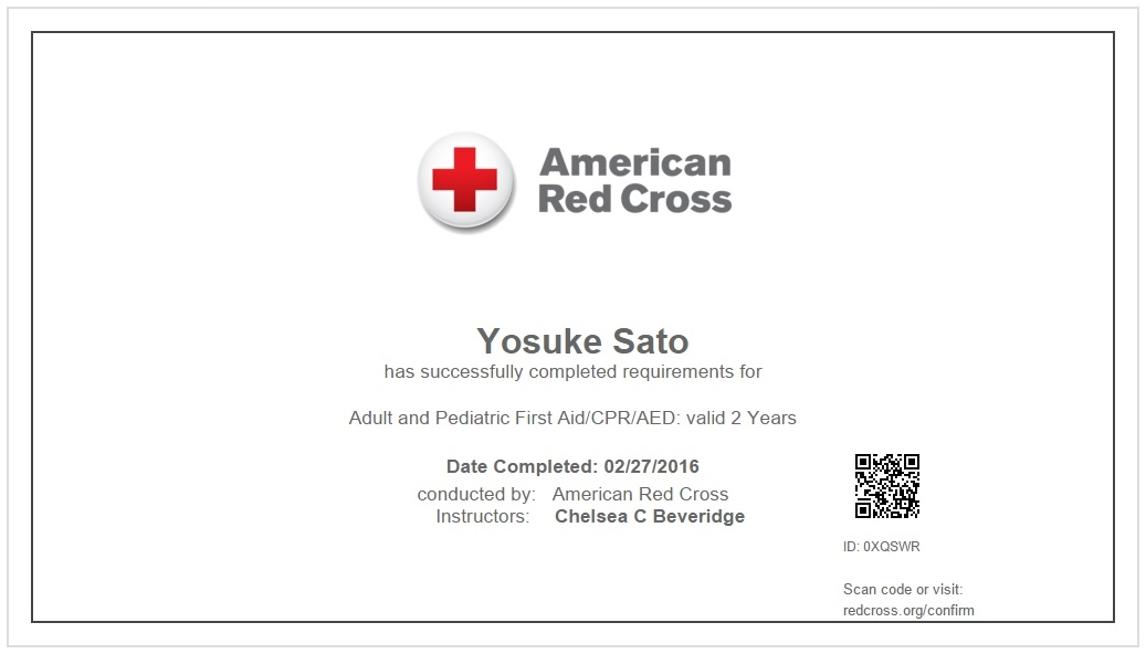 Certificate of Adult and Pediatric First Aid/CPR/AED
